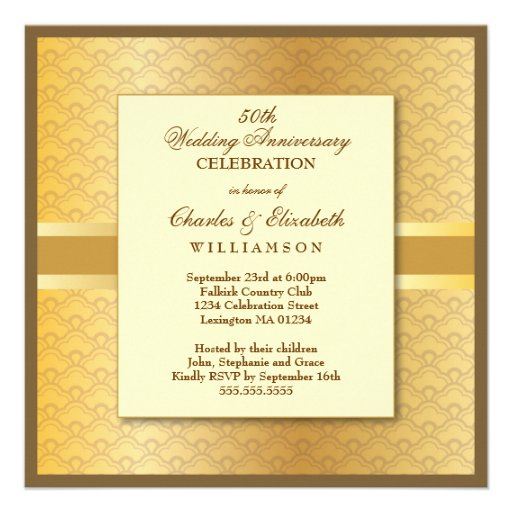 Elegant Photo 50th Wedding Anniversary Party Custom Announcement