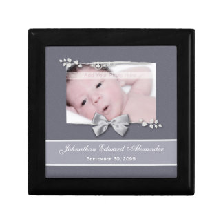 Elegant Photo Birth Announcement Silver Ribbon Gift Box