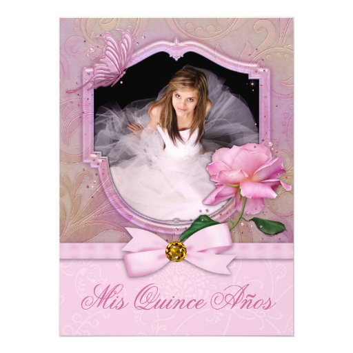 Elegant Photo Pink Butterfly Rose Quinceanera Personalized Invitation