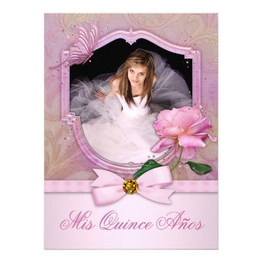 Elegant Photo Pink Butterfly Rose Quinceanera Custom Invitation