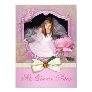 Elegant Photo Pink Butterfly Rose Quinceanera 5.5x7.5 Paper Invitation Card