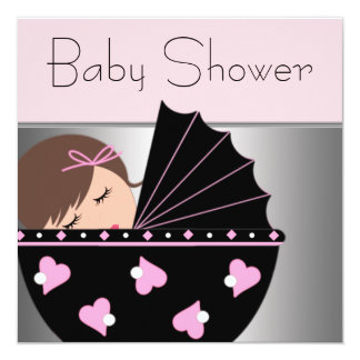 Elegant Pink and Black Baby Shower Invitations