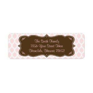 Elegant Pink and Brown Address Labels