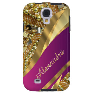 Elegant pink and gold bling personalized galaxy s4 case