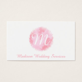 Elegant Pink and White Watercolour Monogram Business Card