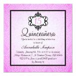Elegant Pink/Black Chic Damask Quinceanera Invite