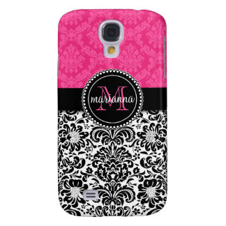 Elegant Pink Black Damask Personalized Galaxy S4 Case