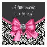 Elegant Pink Black Damask Princess Baby Shower Custom Invitation