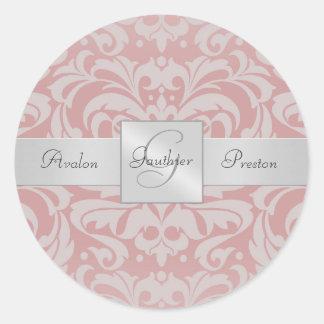 Elegant Pink Damask Monogram Wedding Sticker