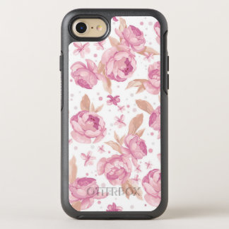 Elegant pink floral Pattern OtterBox Symmetry iPhone 8/7 Case