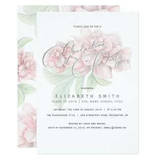 Elegant Pink Floral Typography Graduation Party Card