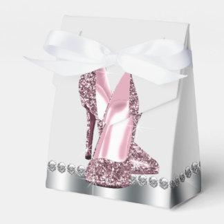 Elegant Pink Glitter High Heel Shoe Favour Box
