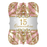 Elegant Pink Gold Pearl Damask Quinceanera 13 Cm X 18 Cm Invitation Card
