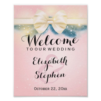 Elegant Pink Gold Ribbon Pines Floral Wedding Sign