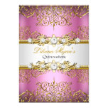 Elegant Pink Gold Vintage Glamour Quinceanera 13 Cm X 18 Cm Invitation Card