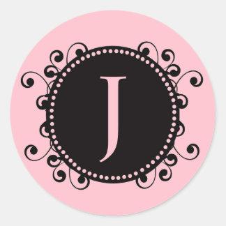 Elegant Pink Monogram J Swirls Wedding Sticker
