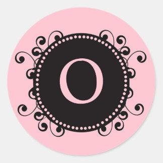 Elegant Pink Monogram O Wedding Sticker