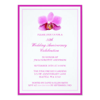 Elegant Pink Orchid 50th Wedding Anniversary Card
