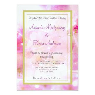 "Elegant Pink Pastel Cherry Blossoms Wedding 5"" X 7"" Invitation Card"