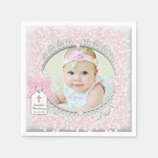 Elegant Pink Rose Photo Christening Paper Napkin