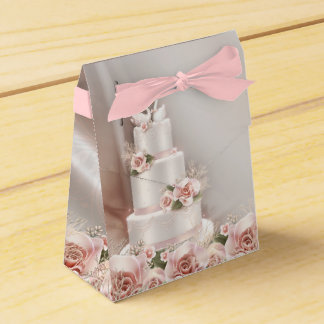 Elegant Pink Rose Wedding Cake Favour Box