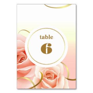 Elegant Pink Roses Table Number Cards