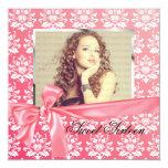 Elegant Pink Satin Damask Photo Birthday Party Invite