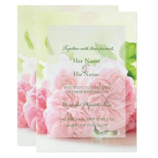 Elegant Pink Summer Rose Wedding Invitation
