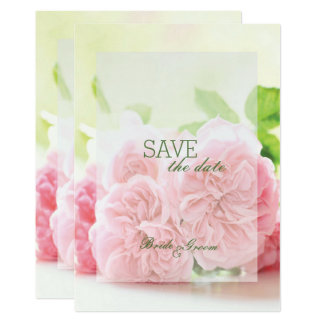 Elegant Pink Summer Rose Wedding SAVE the Date Card