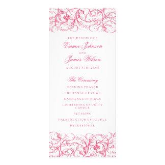 Elegant pink vintage swirls wedding program custom rack cards