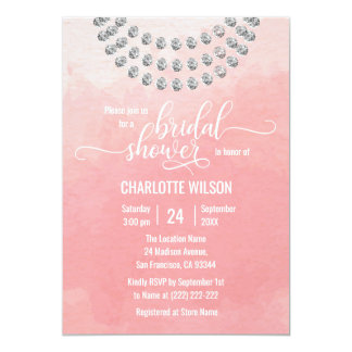 Elegant Pink Watercolor Faux Diamond Bridal Shower Card