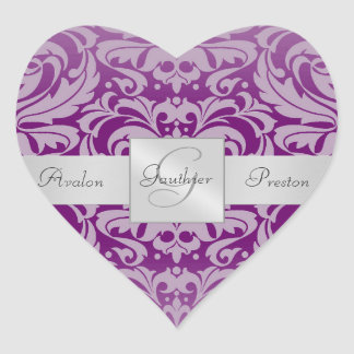 Elegant Plum Damask Heart Wedding Sticker