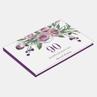 Elegant Plum Purple Rose 90th Birthday Guestbook