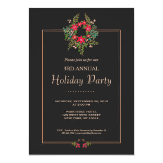 Elegant Poinsettia Wreath Black Holiday Party 13 Cm X 18 Cm Invitation Card