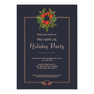Elegant Poinsettia Wreath Navy Holiday Party 13 Cm X 18 Cm Invitation Card