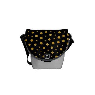 Elegant polka dots - Black Gold Courier Bag