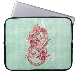 Elegant Printed Jewel Dragons Vintage Shabby Chic Computer Sleeve