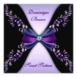 Elegant Purple and Black Invite with Diamond Bow 13 Cm X 13 Cm Square Invitation Card