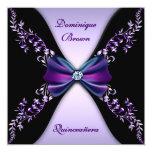 Elegant Purple Black Diamond Bow Quinceanera 13 Cm X 13 Cm Square Invitation Card