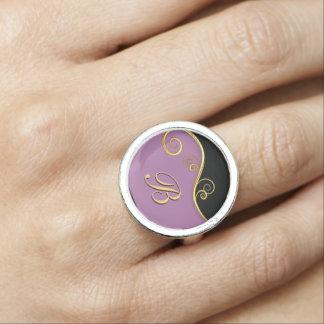 Elegant purple-black Ring with Initial
