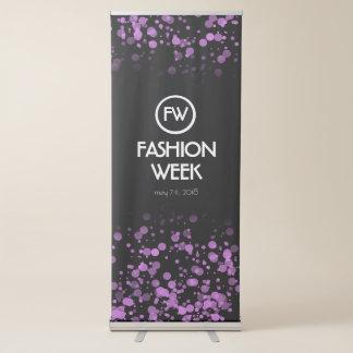 Elegant Purple Confetti Fashion Week Announcement Retractable Banner