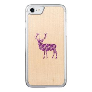 Elegant Purple Damask Deer Stag Carved iPhone 8/7 Case
