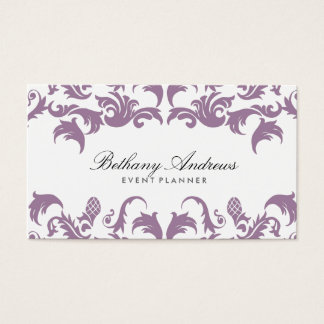 Elegant Purple Damask Event Planner Business Cards