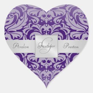 Elegant Purple Damask Heart Wedding Sticker