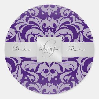 Elegant Purple Damask Monogram Wedding Sticker