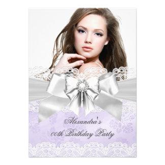 Elegant Purple Damask Silver Photo Birthday Party Custom Invitation