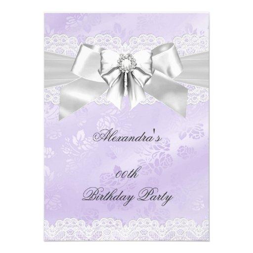 Elegant Purple Damask Silver White Birthday Party Custom Invite