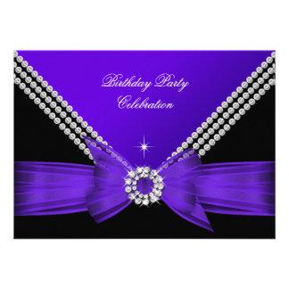 Elegant Purple Diamond Bow Birthday Party 2 Announcements