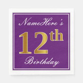 Elegant Purple, Faux Gold 12th Birthday + Name Disposable Napkin