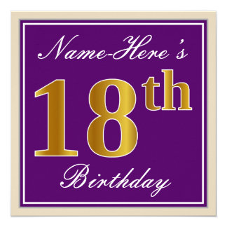 Elegant, Purple, Faux Gold 18th Birthday + Name Card